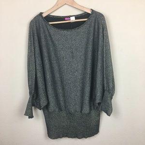 Metallic Gold Dolman Sleeve Sweater- Size 2X